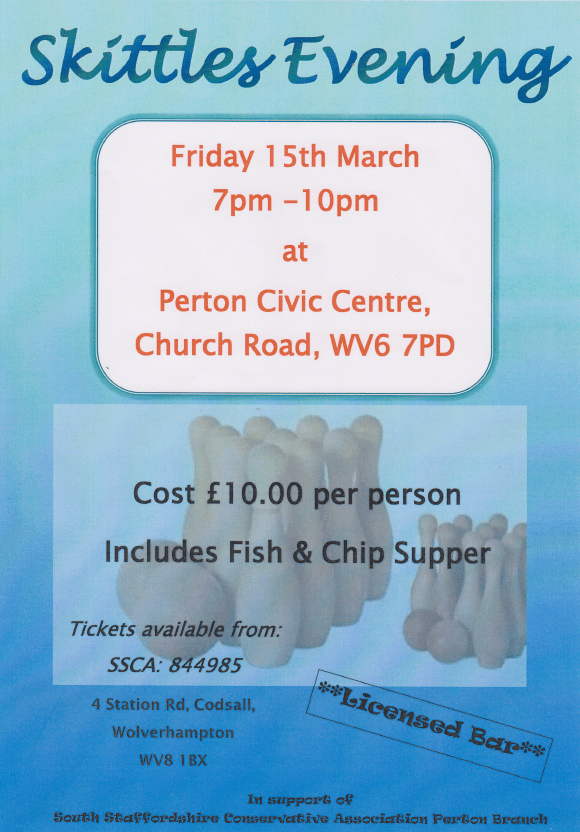 Perton Branch Skittles Evening - Friday 15th March 2019.